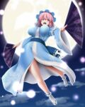 1girl :d backlighting bangs blue_kimono breasts clouds commentary fan floating folding_fan full_body full_moon hair_between_eyes hat highres japanese_clothes kimono large_breasts long_sleeves looking_at_viewer mob_cap moon nori_tamago open_mouth outstretched_arms pink_hair red_eyes saigyouji_yuyuko sandals sash short_hair smile solo tabi touhou white_legwear wide_sleeves