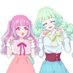 2girls :d :o ^_^ ^o^ aikatsu!_(series) aikatsu_planet! ann_(aikatsu!) aqua_eyelashes artist_name bangs blue_hair blue_skirt blunt_bangs blush bow bowtie braid cat_day chisaca closed_eyes colored_eyelashes commentary_request diamond_(symbol) dress eyebrows_visible_through_hair facing_viewer green_hair green_neckwear hands_up high-waist_skirt highres kurimu_an long_hair looking_at_another loose_bowtie multicolored multicolored_eyes multicolored_hair multiple_girls neck_ribbon open_mouth paw_pose pink_dress pink_eyes pink_hair pink_ribbon q-pit ribbon shirt simple_background skirt smile streaked_hair tsukishiro_ayumi twin_braids twintails two_side_up upper_body very_long_hair violet_eyes white_background white_shirt wrist_cuffs