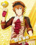 blue_eyes character_name dress idolmaster idolmaster_side-m orange_hair short_hair smile valentine wakazato_haruna wink