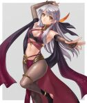 1girl absurdres alternate_costume anklet arm_up bandeau bangs border bracelet commentary_request commission cosplay criss-cross_halter dancer dorothea_arnault dorothea_arnault_(cosplay) elbow_gloves eyebrows_visible_through_hair feathers fingerless_gloves fire_emblem fire_emblem:_radiant_dawn fire_emblem_heroes gloves grey_background grey_gloves grey_legwear hair_feathers halterneck hazuki_(nyorosuke) highres jewelry long_hair looking_at_viewer micaiah_(fire_emblem) midriff navel outside_border pantyhose parted_lips shawl silver_hair simple_background skeb_commission solo standing stomach thighlet thighs white_border yellow_eyes
