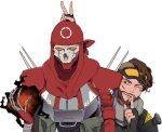2boys apex_legends black_nails brown_hair bunny_ears_prank energy eyebrow_cut facial_hair finger_to_mouth fingerless_gloves gloves goatee goggles goggles_on_head humanoid_robot male_focus mirage_(apex_legends) mizu_cx multiple_boys one_eye_closed open_hand red_bandana revenant_(apex_legends) robot scar scar_on_cheek scar_on_face science_fiction upper_body v white_background yellow_eyes