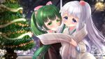 2girls bangs black_jacket blue_kimono blurry blurry_background blush bow christmas christmas_ornaments christmas_tree closed_mouth copyright_name depth_of_field eyebrows_visible_through_hair flower fringe_trim green_eyes green_hair grey_scarf hair_bow hair_flower hair_ornament highres jacket japanese_clothes kerberos_blade kimono long_hair long_sleeves mirai_(happy-floral) multiple_girls official_art pink_bow ponytail red_flower red_rose ribbon-trimmed_sleeves ribbon_trim rose scarf shared_scarf silver_hair smile twintails very_long_hair violet_eyes watermark yuri