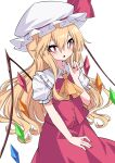 1girl absurdres alternate_hair_length alternate_hairstyle ascot bangs blonde_hair bright_pupils cowboy_shot crystal flandre_scarlet hair_between_eyes hat hat_ribbon highres index_finger_raised long_hair looking_at_viewer mob_cap nail_polish open_mouth puffy_short_sleeves puffy_sleeves rainbow_order red_eyes red_nails red_ribbon red_skirt red_vest ribbon shirt short_sleeves simple_background skirt solo standing touhou tsukimirin vest white_background white_headwear white_pupils white_shirt wings yellow_neckwear