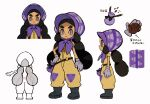 1girl arrow_(symbol) belt black_belt black_footwear black_hair bonnet boots closed_mouth concept_art dark_skin dark_skinned_female gloves grey_eyes grey_gloves hapu_(pokemon) island_kahuna long_hair multiple_views official_art partially_colored pokemon pokemon_(game) pokemon_sm pouch purple_headwear short_sleeves standing thick_eyebrows translation_request twintails