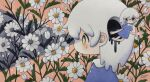 2girls blue_dress blush daisy dress flower highres leaf medium_hair multiple_girls original pink_background plant profile short_sleeves surreal tears traditional_media white_flower white_hair zukky000