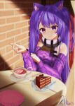 1girl alternate_costume animal_ears artist_name bare_shoulders blush brick_wall cake casual cat_ears chair chocolate_cake cup drink food genshin_impact heart highres keqing_(genshin_impact) kilua_715 long_sleeves looking_at_viewer plate purple_hair purple_sweater scarf sitting smile solo sweater table tea teacup twintails violet_eyes