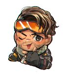 1boy apex_legends black_eyes black_gloves brown_hair checkered checkered_scarf chibi facial_hair finger_gun fingerless_gloves gloves goggles goggles_on_head hair_behind_ear husagin mirage_(apex_legends) one_eye_closed open_mouth scarf solo stubble upper_body white_background