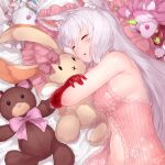 1girl absurdres animal_ear_fluff animal_ears armpit_crease babydoll bangs bare_arms bare_shoulders breasts cat_ears cat_girl cat_tail chemise closed_eyes doll_hug eyelashes hair_between_eyes highres king's_raid kirze large_breasts long_hair looking_at_viewer loungewear off_shoulder on_bed parted_lips red_eyes sideboob silver_hair sleeping solo stuffed_animal stuffed_bunny stuffed_toy stuffed_unicorn swept_bangs tail teddy_bear upper_body yu_mochi_(kamiinu)