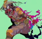 1other ambiguous_gender apex_legends bloodhound_(apex_legends) cable cropped_legs fire gas_mask goggles green_background helmet knee_pads looking_at_viewer mask mizu_cx open_hand pink_fire pouch running solo