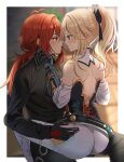 1boy 1girl back black_shirt blonde_hair blue_eyes diluc_(genshin_impact) eye_contact face-to-face genshin_impact jean_gunnhildr_(genshin_impact) light_blush long_hair long_sleeves looking_at_another open_mouth pants ponytail red_eyes redhead shirt silence_girl sitting sitting_on_lap sitting_on_person sweat tight tight_pants white_pants