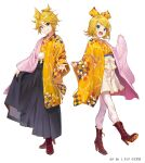 1boy 1girl :d artist_name blonde_hair blue_eyes blush boots bow brother_and_sister brown_footwear hair_bow hakama_skirt haori high_heel_boots high_heels japanese_clothes kagamine_len kagamine_rin long_sleeves looking_at_viewer medium_hair open_mouth pantyhose ponytail shirabi short_hair short_ponytail siblings simple_background skirt smile vocaloid watermark white_background white_skirt