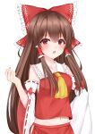 1girl absurdres bow brown_hair commentary_request frilled_bow frilled_hair_tubes frills hair_bow hair_tubes hakurei_reimu highres long_hair midriff navel red_bow red_eyes simple_background solo touhou upper_body useless_(102960190014) white_background