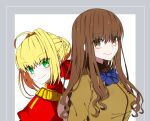 2girls ahoge back-to-back bangs blonde_hair blue_neckwear blush bow bowtie braid braided_bun breasts brown_eyes brown_hair brown_jacket closed_mouth dress epaulettes eyebrows_visible_through_hair fate/extra fate_(series) green_eyes hair_intakes hair_ribbon hio141 jacket kishinami_hakuno_(female) large_breasts long_hair long_sleeves looking_at_viewer multiple_girls nero_claudius_(fate) nero_claudius_(fate)_(all) red_dress red_ribbon ribbon school_uniform short_hair sidelocks smile tsukumihara_academy_uniform_(fate/extra) upper_body wavy_hair