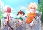 3boys :d bakugou_katsuki bangs black_hair blonde_hair blue_eyes blue_scarf boku_no_hero_academia building burn_scar commentary_request day green_hair green_scarf grey_eyes grey_jacket heterochromia highres jacket looking_at_another male_focus midoriya_izuku multicolored multicolored_clothes multicolored_hair multicolored_scarf multiple_boys open_mouth orange_scarf outdoors parted_lips red_eyes redhead scar scar_on_arm scar_on_hand scarf school_uniform short_hair sky skyscraper smile standing todoroki_shouto tonomayo two-tone_hair u.a._school_uniform upper_teeth white_hair