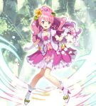1girl :d absurdres boots buntan choker commentary_request cure_grace dress earrings flower gloves hair_flower hair_ornament hanadera_nodoka happy healin'_good_precure high_heel_boots high_heels highres jacket jewelry long_hair looking_at_viewer magical_girl open_mouth pink_choker pink_dress pink_eyes pink_hair pink_jacket pink_skirt pleated_skirt ponytail precure puffy_short_sleeves puffy_sleeves short_sleeves skirt smile solo white_gloves