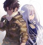 1boy 1girl 86_-eightysix- antenna_hair back-to-back bandana blue_jacket brown_hair camouflage camouflage_jacket closed_mouth epaulettes fingerless_gloves fingernails gloves grey_gloves grey_hair hair_between_eyes hand_up jacket long_hair long_sleeves microphone military_jacket multicolored_hair redhead shinei_nouzen shirabi simple_background streaked_hair vladilena_millize white_background white_gloves