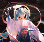 1girl 39 alternate_costume aqua_eyes aqua_hair arm_up bangs blue_eyes blue_hair bridge chinese_clothes chuushuu_meigetsu_miku commentary fan flower hagoromo hair_between_eyes hair_flower hair_ornament hatsune_miku highres holding holding_fan lirseven long_hair long_skirt long_sleeves looking_at_viewer open_mouth paper_fan red_skirt sash shawl skirt smile solo standing twintails uchiwa upper_body very_long_hair vocaloid white_flower white_robe wide_sleeves
