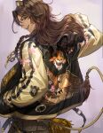 1boy alternate_costume animal_ears badge braid brown_hair brown_pants chain chain_necklace commentary_request dark_skin dark_skinned_male disney ear_piercing fashion fringe_trim from_behind green_eyes hand_in_pocket highres jacket leona_kingscholar lion_boy lion_ears lion_tail long_hair long_sleeves looking_back making-of_available male_focus nonomaro o-ring open_mouth pants piercing pocket sakuramon scar scar_(the_lion_king) scar_across_eye sideways_mouth solo spikes sukajan tail tail_ornament tail_through_clothes the_lion_king twisted_wonderland upper_body zipper