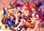 6+boys :d abs aokamei apple belt black_coat black_hair black_shorts blush brothers buzz_cut child coat cup denim feet_out_of_frame flag food freckles fruit hat hug jeans male_focus monkey_d_luffy multiple_boys muscular muscular_male navel one_piece open_clothes open_coat open_mouth open_shirt orange_shorts pants pectorals pineapple pipe portgas_d_ace sabo_(one_piece) sakazuki sandals scar scar_across_eye scar_on_cheek scar_on_chest scar_on_face shirtless short_hair shorts siblings smile straw_hat time_paradox very_short_hair younger