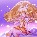 1girl :d blonde_hair blush boots commentary_request cure_peace dress earrings eyelashes hair_ornament happy jewelry kise_yayoi knee_boots kneehighs long_hair looking_at_viewer magical_girl open_mouth ponytail precure signature sitting sketch smile smile_precure! solo urbandusk wrist_cuffs yellow_dress yellow_eyes