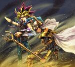 2boys armor belt black_hair blonde_hair brown_eyes cape card chain choker commentary dark_skin dark_skinned_male deadspike_nine duel_disk duel_monster feet_out_of_frame gold_armor holding holding_card holding_staff jacket jacket_on_shoulders long_hair mahado male_focus millennium_puzzle multicolored_hair multiple_belts multiple_boys outstretched_arm palladium_oracle_mahad purple_hair school_uniform shoulder_armor spiky_hair staff vambraces violet_eyes wind yami_yuugi yu-gi-oh! yu-gi-oh!_the_dark_side_of_dimensions