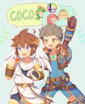 2boys 3girls blonde_hair brown_hair chest_jewel chibi closed_eyes crotchless crotchless_pants elbow_gloves fingerless_gloves gloves goddess green_eyes green_hair headpiece kid_icarus kid_icarus_uprising long_hair male_focus multiple_boys multiple_girls mythra_(xenoblade) palutena pit_(kid_icarus) prank pyra_(xenoblade) rex_(xenoblade) short_hair smile super_smash_bros. trolling wings wusagi2 xenoblade_chronicles_(series) xenoblade_chronicles_2
