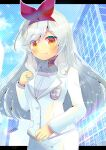 1girl allipaca blush breasts building choker closed_mouth collared_shirt commentary_request dress_shirt fang fang_out formal grey_shirt hair_ribbon hairband hand_up indie_virtual_youtuber jacket kouu_hiyoyo letterboxed long_hair long_sleeves looking_at_viewer pant_suit pants red_choker red_eyes red_hairband red_ribbon ribbon shirt silver_hair small_breasts smile solo suit very_long_hair virtual_youtuber white_jacket white_pants