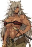 1girl abs airisubaka animal_ear_fluff animal_ears bare_shoulders breasts brown_eyes cat_ears cat_girl collar collarbone commentary cowboy_shot dark_skin english_commentary eyepatch ghislaine_dedoldia highres holding holding_sheath holding_sword holding_weapon large_breasts long_hair looking_at_viewer muscular muscular_female mushoku_tensei navel scar sheath simple_background solo sword weapon white_background