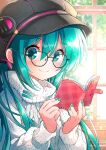 1girl aqua_hair aqua_nails black-framed_eyewear black_headwear blush book cabbie_hat glasses hat hatsune_miku indoors kawanobe long_hair long_sleeves looking_at_viewer open_book smile solo sweater upper_body vocaloid white_sweater window
