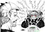 1boy 1girl :> absurdres anger_vein angry black_gloves confused demon_boy demon_girl demon_horns drake_(mazohaha) facial_hair fork gloves gothic gothic_lolita green_bean highres horns husband_and_wife juugoya_(zyugoya) limited_palette lolita_fashion musuko_ga_kawaikute_shikatanai_mazoku_no_hahaoya nightmare_(mazohaha) pointy_ears pointy_nose red_eyes shumai_(food) sweat sweatdrop triangle_mouth veins white_horns