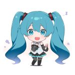 1girl :d bangs black_legwear black_skirt blue_eyes blue_hair blue_neckwear chibi collared_shirt commentary_request detached_sleeves eighth_note eyebrows_visible_through_hair fhang flower full_body grey_sleeves hair_between_eyes hatsune_miku hatsune_miku_(nt) long_hair long_sleeves looking_at_viewer musical_note open_mouth pleated_skirt purple_flower shadow shirt sidelocks skirt sleeveless sleeveless_shirt smile solo thigh-highs very_long_hair vocaloid white_background white_shirt wide_sleeves