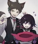 2boys ahoge animal_ears asuna_(doruru-mon) bangs black_cape black_hair black_vest brown_eyes brown_hair cape claw_pose collared_shirt commentary_request danganronpa_(series) danganronpa_2:_goodbye_despair danganronpa_v3:_killing_harmony fang hair_between_eyes halloween_costume hat highres hinata_hajime holding long_sleeves looking_at_viewer male_focus multicolored_hair multiple_boys open_mouth ouma_kokichi purple_hair shirt short_hair sketch smile sweatdrop symbol-shaped_pupils tail two-tone_hair upper_body upper_teeth vest white_shirt witch_hat wolf_ears wolf_tail