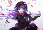 1girl bangs belt black_hair black_jacket black_skirt blue_eyes bug butterfly colored_sclera floating_hair heterochromia highres holding holding_sword holding_weapon insect jacket katana kimetsu_no_yaiba long_hair long_sleeves looking_at_viewer parted_lips petals pink_eyes red_sclera school_uniform skirt solo sword tsuyuri_kanao vardan weapon white_belt