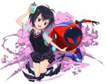 1girl antenna_hair backpack bag bangs black_hair black_neckwear black_skirt black_sweater_vest bob_cut brown_eyes bubble_tea colored_smoke cup disposable_cup dress_shirt drinking_straw foreshortening hair_between_eyes hand_to_head jumping light_blush looking_to_the_side marvel mecha necktie open_mouth outstretched_arm peni_parker peroringa plaid plaid_skirt pleated_skirt shirt short_hair short_sleeves skirt smile smoke solo sp//dr spider-man spider-man:_into_the_spider-verse spider-man_(series) upper_teeth white_shirt