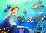 1girl 6+others blue_eyes corsola dtjaewon2348 gen_1_pokemon gen_2_pokemon gen_3_pokemon goldeen gyarados horsea innertube kneeless_mermaid long_hair luvdisc marill mermaid mermaid_misty_(pokemon) misty_(pokemon) monster_girl multiple_others orange_hair pokemon pokemon_(anime) pokemon_(classic_anime) pokemon_(creature) politoed psyduck shell shell_bikini smile starmie staryu togetic underwater