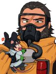 2boys anger_vein animal_ears annoyed apex_legends beard black_eyes black_hair caustic_(apex_legends) crypto_(apex_legends) facial_hair fang gas_mask goggles green_sleeves grey_jacket hair_slicked_back highres holding_person husagin jacket kemonomimi_mode male_focus miniboy mouse_boy mouse_ears mouse_tail multiple_boys open_hand open_mouth tail upper_body v-shaped_eyebrows waving_arms white_background