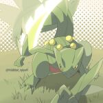 artist_name black_eyes closed_mouth commentary_request gen_3_pokemon grass hamhsi_miyar hunched_over leaf_blade_(pokemon) legs_apart no_humans pokemon pokemon_(creature) sceptile solo standing