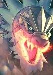 absurdres blurry breathing_fire claws commentary fire gen_6_pokemon higa-tsubasa highres no_humans open_mouth pokemon pokemon_(creature) sharp_teeth solo teeth tongue tyrantrum yellow_eyes