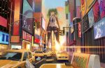 1girl absurdres bangs black_choker black_legwear black_shorts building calico_m950 car choker city clouds evening eyebrows_visible_through_hair giant giantess girls_frontline gradient_sky green_hair ground_vehicle gun highres holding holding_gun holding_weapon huge_filesize jewelry long_hair m950a_(girls_frontline) messy_hair motor_vehicle necklace nighttsound open_fly open_mouth orange_sky road short_shorts shorts sky smile solo standing street submachine_gun sunset taxi thigh-highs traffic_light unzipped weapon yellow_eyes