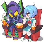 1boy 1girl ayanami_rei blue_hair blush_stickers eva_01 food gashi-gashi looking_at_another movie_theater nagisa_kaworu neon_genesis_evangelion popcorn red_eyes sitting smile soda toy