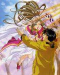 aa_megami-sama belldandy boy girl hug long_hair morisato_keiichi