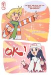 1boy 1girl :d absurdres artist_name bangs barry_(pokemon) beanie black_hair blonde_hair blush clenched_hand clenched_hands coat commentary cosmosully dawn_(pokemon) english_commentary english_text eyelashes green_scarf hair_ornament hairclip hat highres jacket long_hair long_sleeves open_mouth orange_eyes pokemon pokemon_(game) pokemon_dppt pokemon_platinum red_coat scarf sidelocks smile speech_bubble teeth white_headwear white_scarf