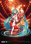 1girl :d aerial_fireworks ahoge aqua_hair bangs black_gloves breasts commentary_request dress eyebrows_visible_through_hair fang fireworks gloves green_eyes half_gloves hatsune_miku head_tilt highres holding knee_up kneehighs layered_skirt lengchan_(fu626878068) long_hair long_sleeves medium_breasts official_art open_mouth pleated_skirt red_footwear red_skirt shoes sitting skirt smile solo twintails very_long_hair vocaloid white_dress white_legwear wide_sleeves