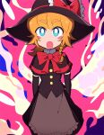1girl :o bangs black_capelet black_gloves black_shirt black_skirt blue_eyes blush_stickers bow braid bright_pupils capelet commentary_request cookie_(touhou) elbow_gloves eyebrows_visible_through_hair feet_out_of_frame frilled_bow frills gloves hair_bow hat hat_bow kirisame_marisa looking_at_viewer medium_hair meguru_(cookie) open_mouth red_bow shirt single_braid skirt solo tdnbk touhou white_pupils