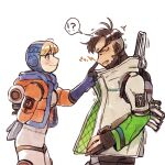 ! !? 1boy 1girl ? apex_legends black_gloves black_hair blonde_hair bodysuit breasts closed_eyes crypto_(apex_legends) from_side gloves green_sleeves grey_jacket hood hood_up husagin jacket medium_breasts open_mouth orange_jacket partially_fingerless_gloves poking_nose smile speech_bubble spoken_exclamation_mark spoken_question_mark wattson_(apex_legends) wavy_mouth white_bodysuit