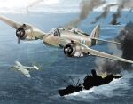aircraft airplane b-25_mitchell beaufighter_(airplane) bomber fire flying gun machine_gun matsuda_juukou military military_vehicle original pilot propeller ship sink sky smoke warship watercraft weapon world_war_ii