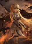1girl absurdres armor armored_dress battlefield blonde_hair blue_eyes dress fate/apocrypha fate/grand_order fate_(series) flag headpiece highres holding holding_flag huge_filesize jeanne_d'arc_(fate) jeanne_d'arc_(fate)_(all) kyo_(maae00) long_hair solo standing tears very_long_hair