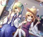 2girls absurdres artist_name blonde_hair blue_skirt blush breasts brown_headwear bubble_blowing clock commentary cup dango detached_sleeves dutch_angle feet_out_of_frame food frog_hair_ornament green_eyes green_hair hair_ornament hair_ribbon hair_tubes hat highres holding holding_cup holding_food index_finger_raised kochiya_sanae long_hair long_sleeves medium_breasts moriya_suwako multiple_girls one_eye_closed pudding_(skymint_028) purple_skirt purple_vest red_ribbon ribbon sanshoku_dango shirt sitting skirt soap_bubbles star-shaped_pupils star_(symbol) symbol-shaped_pupils thigh-highs touhou tress_ribbon turtleneck vest wagashi white_legwear white_shirt wide_sleeves yellow_eyes yunomi