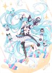 1girl 2019 :d absurdly_long_hair absurdres aqua_eyes aqua_hair argyle argyle_legwear artist_name black_footwear black_legwear bow bowtie character_doll commentary detached_sleeves diffraction_spikes dress eyebrows_behind_hair facial_mark floating_hair full_body gloves hat hatsune_miku highres holding holding_microphone leg_up long_hair looking_at_viewer magical_mirai_(vocaloid) microphone mini_hat mini_top_hat mismatched_footwear mismatched_legwear neck_ruff nishina_hima open_mouth outstretched_arm pink_bow shoulder_tattoo single_detached_sleeve sleeveless sleeveless_dress smile solo star-shaped_pupils star_(symbol) striped striped_legwear symbol-shaped_pupils tattoo thigh-highs top_hat twintails vertical-striped_legwear vertical_stripes very_long_hair vocaloid white_footwear white_gloves white_headwear white_legwear wrist_cuffs