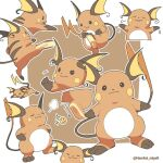 @_@ artist_name closed_mouth commentary_request emoji gen_1_pokemon hamhsi_miyar kicking looking_at_viewer multiple_views no_humans open_mouth outline pokemon pokemon_(creature) raichu smile sparkle standing toes tongue